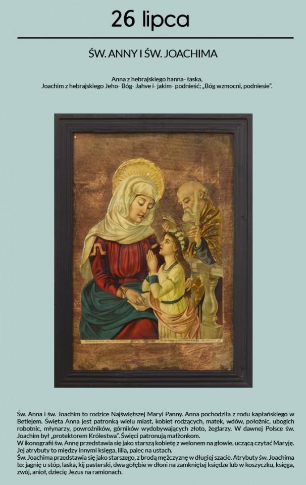 Prezentowany oleodruk św. Anna i św. Joachim pochodzi ze zbiorów Muzeum Archeologicznego i Etnograficznego w Łodzi